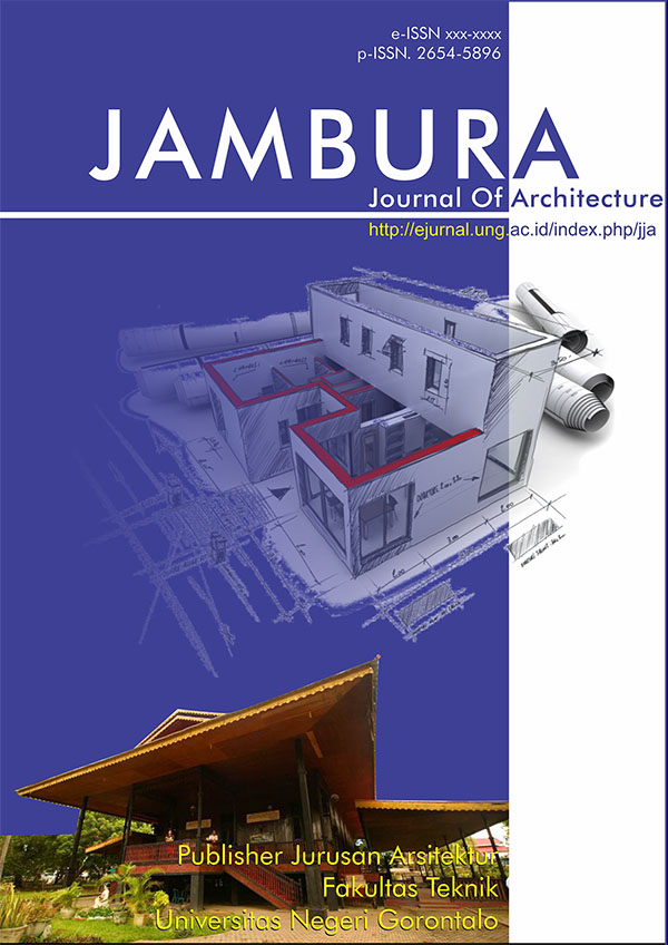 Judul Jurnal : JAMBURA Journal of Architecture  Singkatan : JJoA  Frekuensi : April dan Nov  Bahasa : Indonesia dan Inggris (lebih disukai)  DOI : -  ISSN Cetak : 2654-5896  ISSN Online : -  Editor-in-Chief : Sri Sutarni Arifin  Publisher :Arsitektur