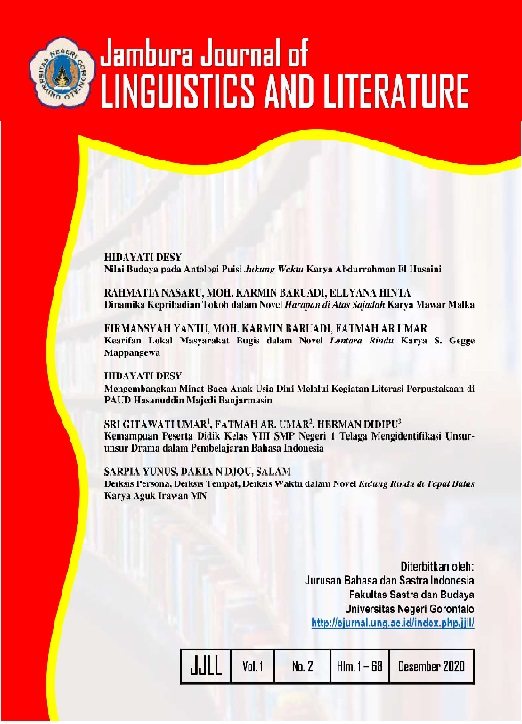 Jambura Journal of Linguistics and Literature is a peer-reviewed journal published by department of Indonesian Language and Literature Education, Faculty of Literature and Culture, Gorontalo State University twice a year in January and July.